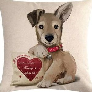 Other - Pillow Cover- New- Cute Dog Love Heart